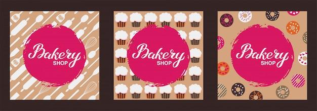 Набор карт логотипа магазина хлебобулочных изделий