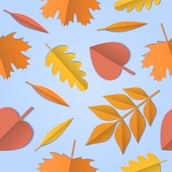 別のツリー、ペーパーアートの背景の紅葉のシームレスパターン