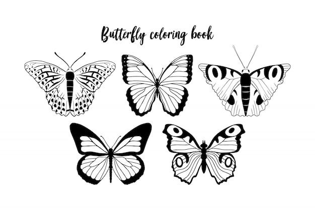 黒と白の蝶の輪郭のイラスト。ぬりえ帳テンプレート
