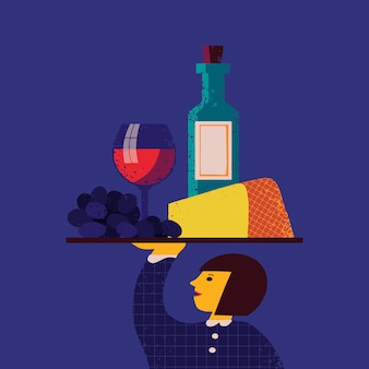 Иллюстрация с официанткой с подносом с виноградом, сыром, рюмкой, бутылкой вина на нем. фон меню ресторана дизайн, персонаж официант с едой и алкогольными напитками