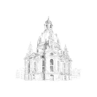 Фрауэнкирхе, церковь девы марии в дрездене, германия. черно-белый рисунок эскиз. иллюстрация