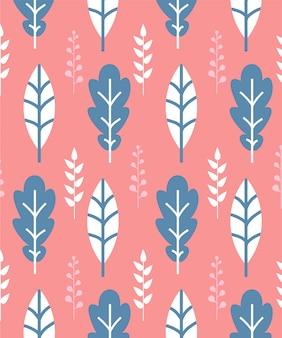 ピンクの背景に白と青の葉とのシームレスなパターン