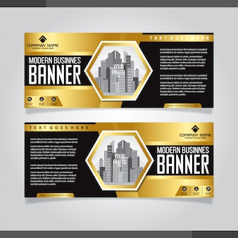 バナー背景モダンなテンプレート、抽象的なデザイン、金色