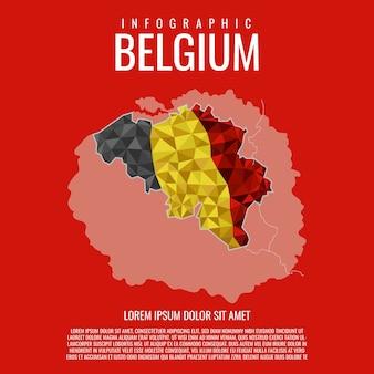 ベルギー地図インフォグラフィック