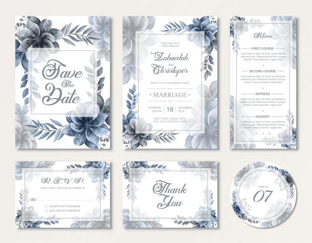 エレガントなブルーの水彩画の花のバラの花と素敵な結婚式の招待状カードセット