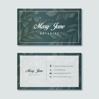 Элегантный зеленый ботаник шаблон визитной карточки