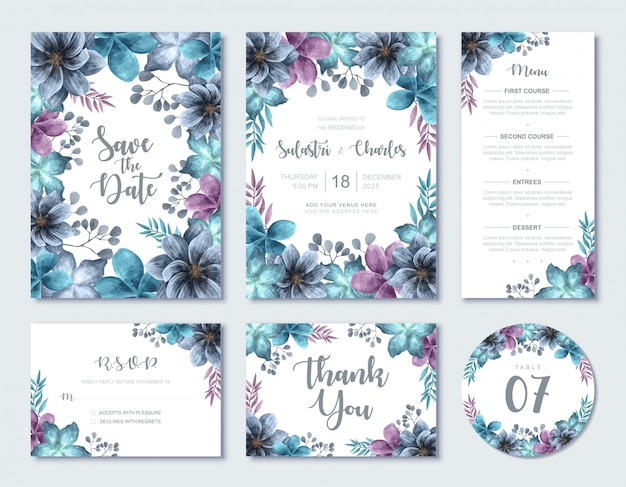 エレガントなブルーの水彩画の花の結婚式の招待状カードテンプレートセット