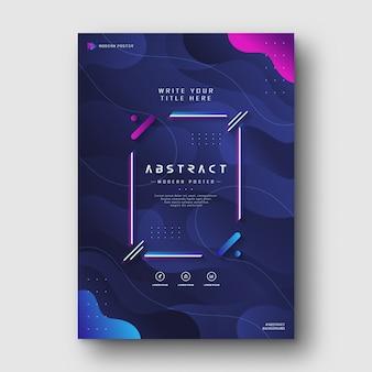 現代のグラデーションブルーネイビー抽象液体ポスター