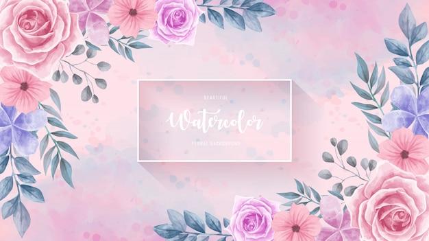 ビンテージ水彩花の花の背景