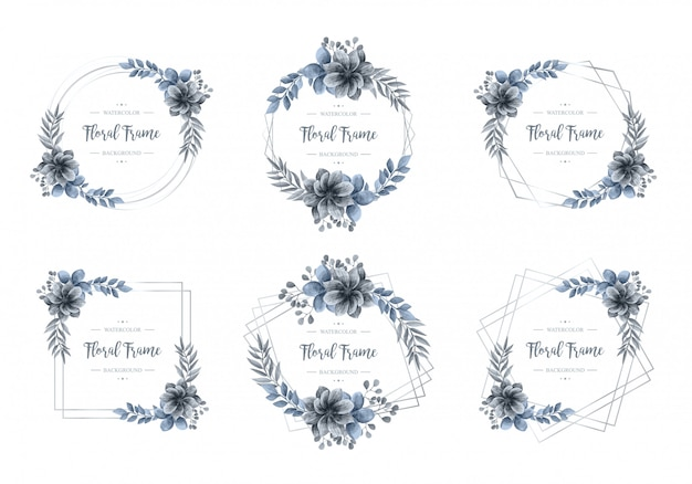 高級ブルー水彩花柄シルバーフレームコレクション