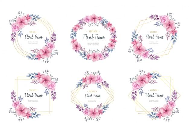 水彩花の花ゴールデンフレームコレクション