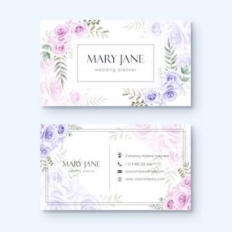 Шаблон визитной карточки для свадебного планировщика или флориста акварель цветочный стиль