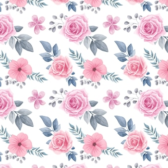 水彩花の花のシームレスなパターン背景