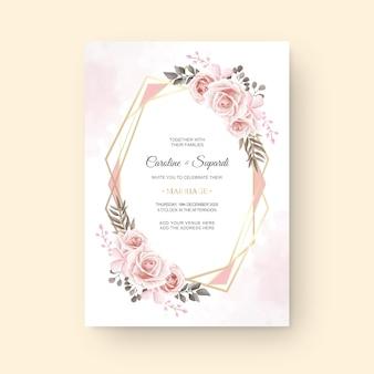 ビンテージ水彩花結婚式招待状