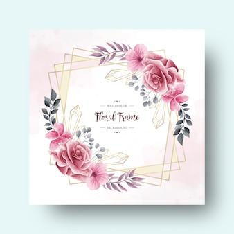 結婚式の招待カードのビンテージ水彩花装飾フレーム