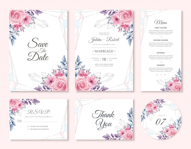 水彩花結婚式招待状カードテンプレートセット