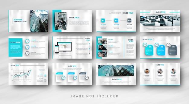 インフォグラフィックと最小限の青いビジネススライドプレゼンテーションパワーポイント