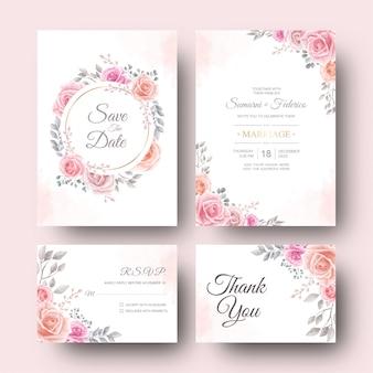水彩花と葉のテンプレートでの結婚式の招待カード
