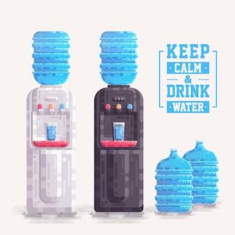 プラスチック製の容器の瓶のベクトルとオフィスウォータークーラーディスペンサー
