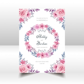花の結婚式の招待カード水彩風