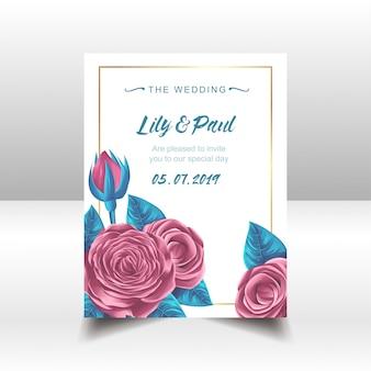 素敵な花の結婚式の招待状カードベクトル