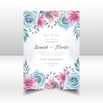 水彩花の結婚式の招待状カードベクトルテンプレート