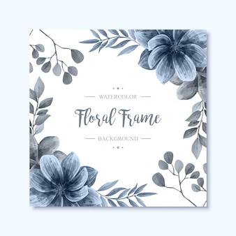 エレガントなブルーの水彩画の花の花のフレームの背景
