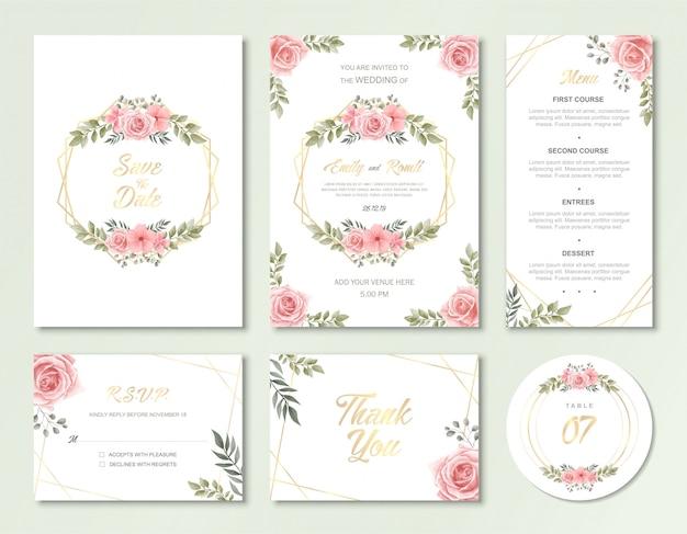 ヴィンテージの水彩画の花と結婚式の招待カードテンプレート