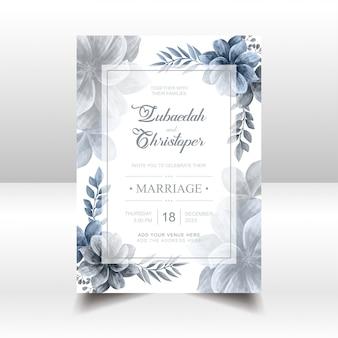結婚式招待状の青い水彩花のフレーム