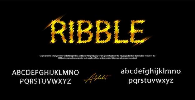 リブスタイルのフォント、アルファベットと数字、