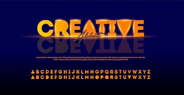 創造的なモダンなアルファベットフォント。ライト付きタイポグラフィアーバンスタイルフォント