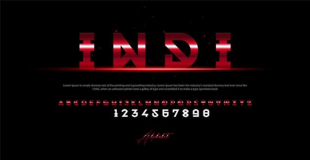 現代アルファベットのフォントと番号。タイポグラフィアーバンスタイルフォント