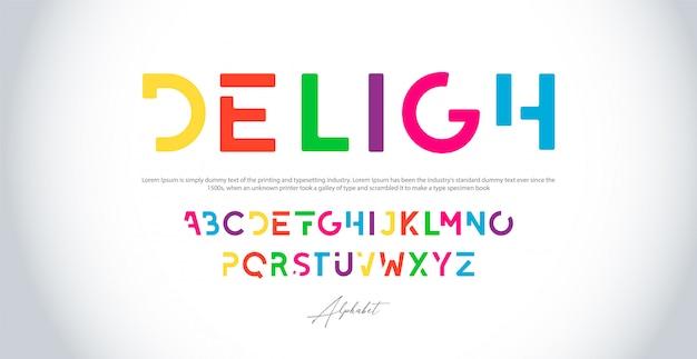 カラフルなアルファベットのフォントセット。タイポグラフィ現代色