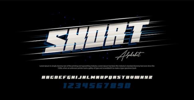 スポーツモダンな斜体アルファベットのフォントと番号。タイポグラフィアーバンスタイルフォント