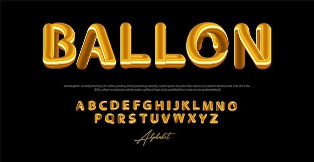 Современная жидкость алфавит шрифт с золотым цветом. типография шрифты в стиле баллон