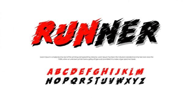 Спортивные современные алфавитные шрифты. бегун типография курсив шрифт