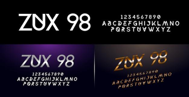 エレガントなシルバーとゴールデン色の金属クロムアルファベットフォントと番号セット