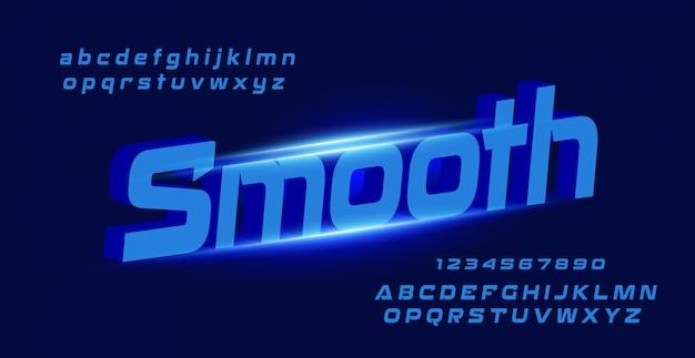 滑らかな文字で抽象的な技術空間フォントと数字のアルファベット