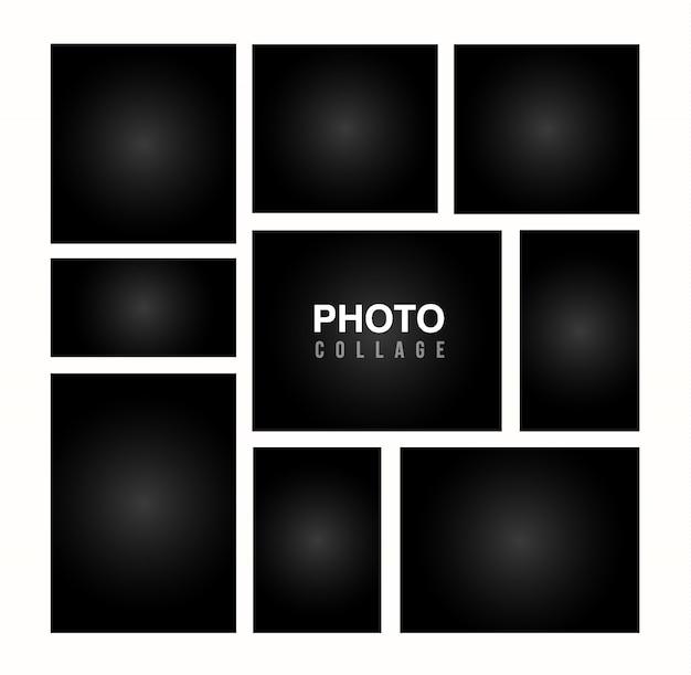 Черный шаблон фоторамки коллаж