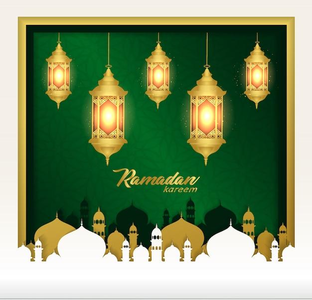 ラマダンカリーム背景ランプとモスク