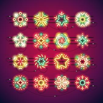 クリスマスカラフルなネオンスノーフレーク