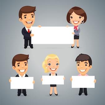 Предприниматели с пустым плакатом