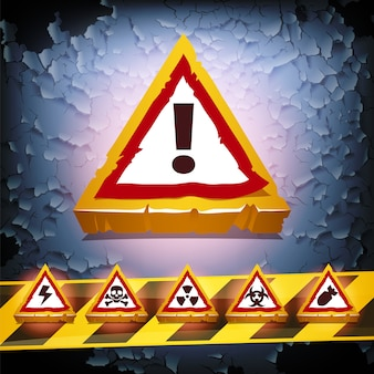 グランジベクトルの背景と警告標識