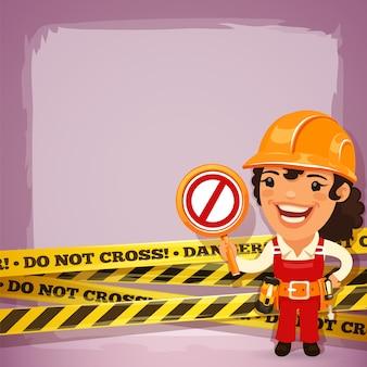 女性のビルダー、危険なテープ