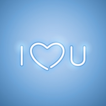 Я люблю тебя синий неоновый баннер
