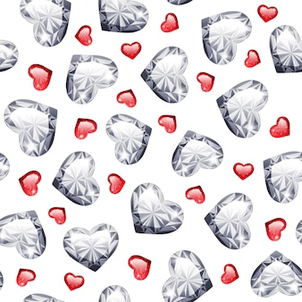 ルビーとダイヤモンドの宝石のハーツシームレスなパターン
