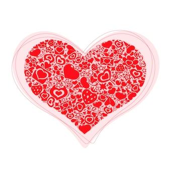 Валентина сердце из предметов красного
