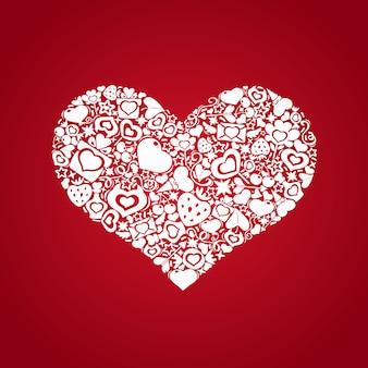 Валентина сердце из предметов белого цвета