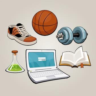 スポーツと教育の学生セット