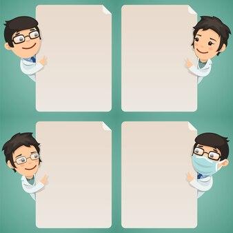 空のポスターセットを見て医師の漫画のキャラクター